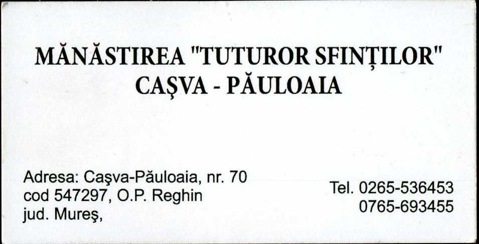 Manastirea Casva, carte de vizita
